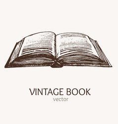 Open vintage book hand draw sketch card vector
