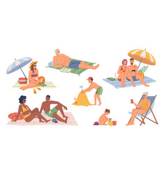 people relaxing on seashore summer vacation set vector image