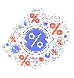 percent symbol and loop arrow taxes return on vector image