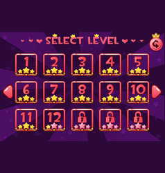 princess girlis style level select screen game ui vector image