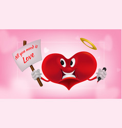 red smiling heart on white vector image
