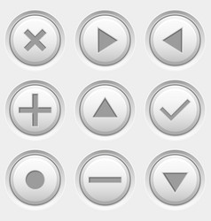 Round media and video control buttons white icons vector