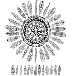 Round pattern with feathers in native style vector image