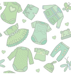 Seamless pattern baby clothes vector image