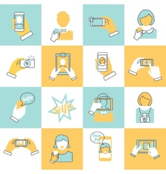 Selfie icons flat line vector image
