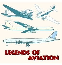 Set of abstract retro planes vector image