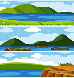 set of natural landscape vector image