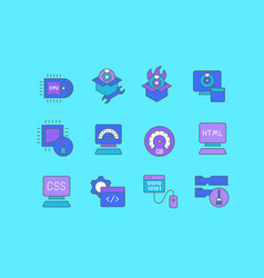 set simple line icons software vector image