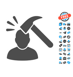 Shock flat icon with free bonus elements vector