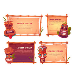 sign boards with bamboo frames and tiki masks vector image