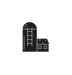 silo barn black concept icon silo barn vector image