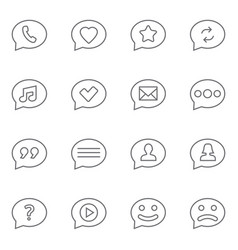 Speech bubbles thin line icons set vector