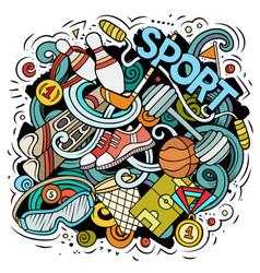 Sport cartoon doodle funny art design vector