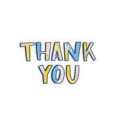 Thank you word handwritten with funky calligraphic vector