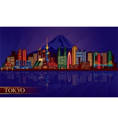 Tokyo city night skyline silhouette vector image vector image