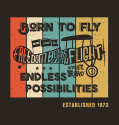 Vintage airplane poster and lettering for printing vector