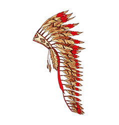 warbonnet feather hat colorful fashion accessory vector image