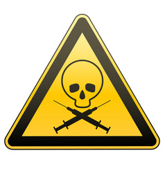 warning sign drug addiction and aids caution vector image