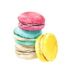 Watercolor macaroons stack vector