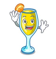 Waving mimosa character cartoon style vector