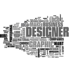 Why hire a graphic designer text word cloud vector