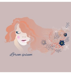 Woman with long flowing hair and flowers vector