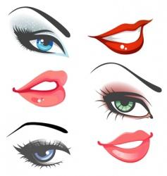 Women eyes lips vector