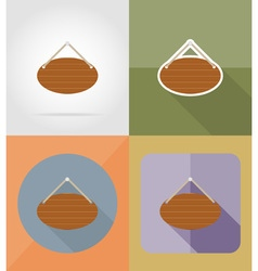 Wooden board flat icons 14 vector