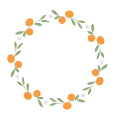 Wreath of leaves oranges and orange blossoms on vector