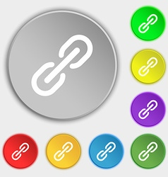 Chain Icon sign Symbol on eight flat buttons vector image