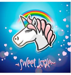 cute unicorn animal sticker vector image