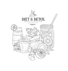 Detox And Diet Fresh Food Drink Hand Drawn vector image