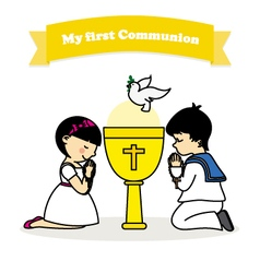 First communion boy and girl vector
