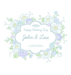 Floral wedding label vector