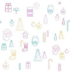 Line Christmass icons seamless background vector image vector image
