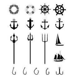 Nautical icons isolated vector