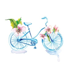 Watercolor bicycle with flowers vector
