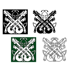Wild wolves in celtic style vector image
