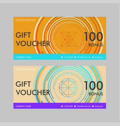 Gift voucher template with modern circle design vector