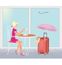 Girl at the airport in are going on vacations vector image