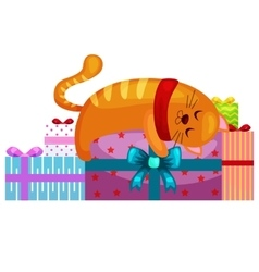 happy cute cat with christmas gifts kitten vector image