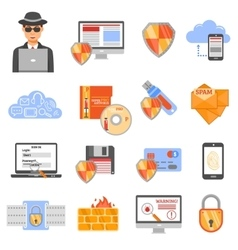 Network Security Color Icons vector image