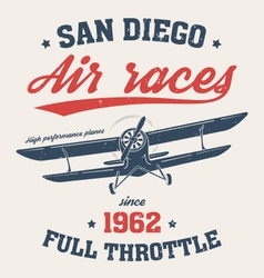San diego t shirt with old airplane vector