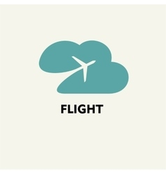 Silhouette of flying plane in the cloud Template vector image