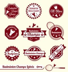 Badminton Labels vector image vector image
