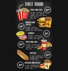 fast food menu on chalkboard design vector image vector image