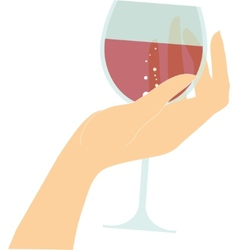 female hand holding glass with red wine vector image vector image
