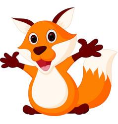 happy fox cartoon vector image