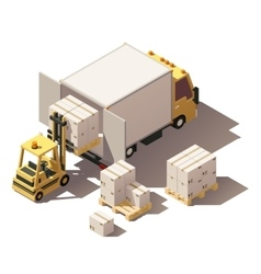 isometric forklift loading box truck with vector image vector image