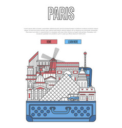 paris city poster with open suitcase vector image vector image